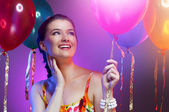 Girl wit balloons — Stock Photo