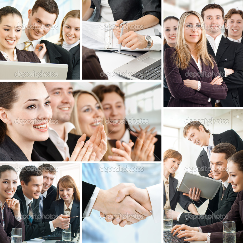Team of successful smiling young business — Stock Photo #6115231