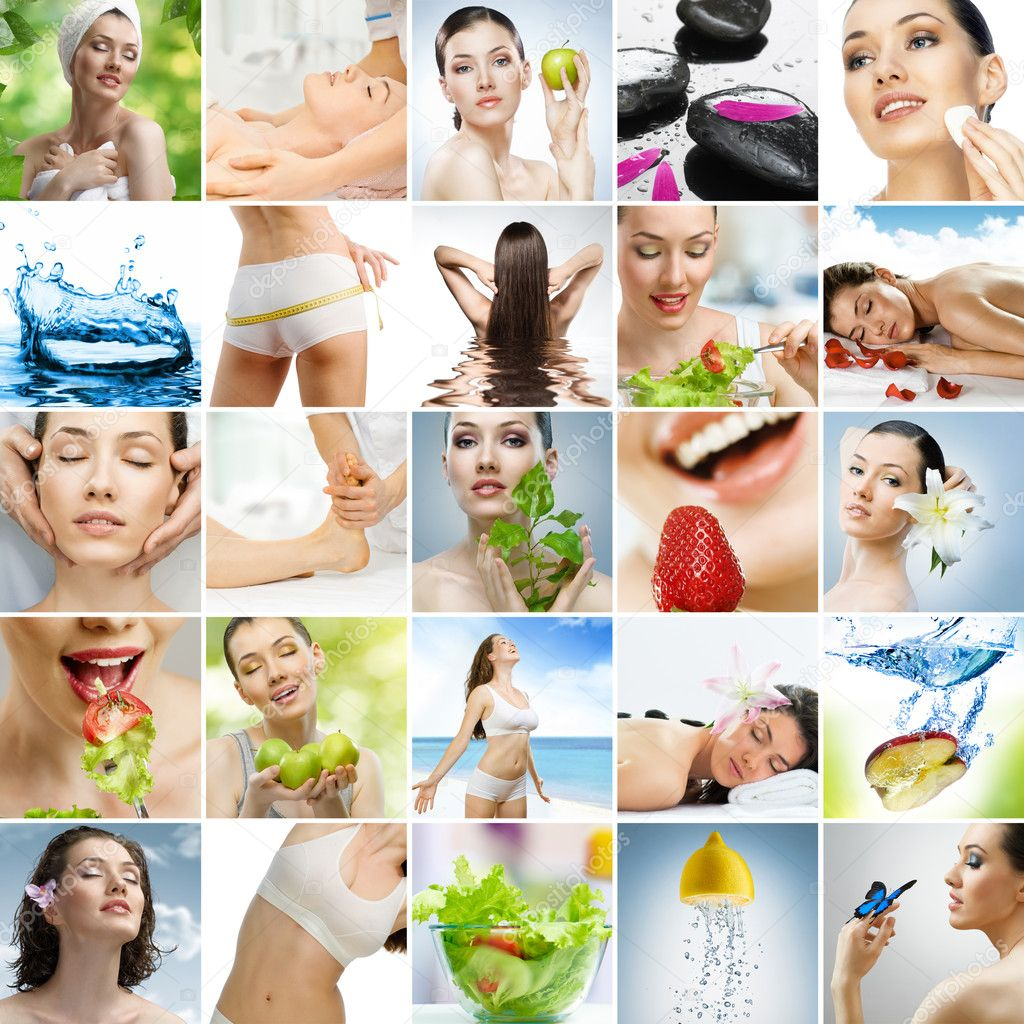 Collage about healthy eating and healthcare — Stok fotoğraf #6115232