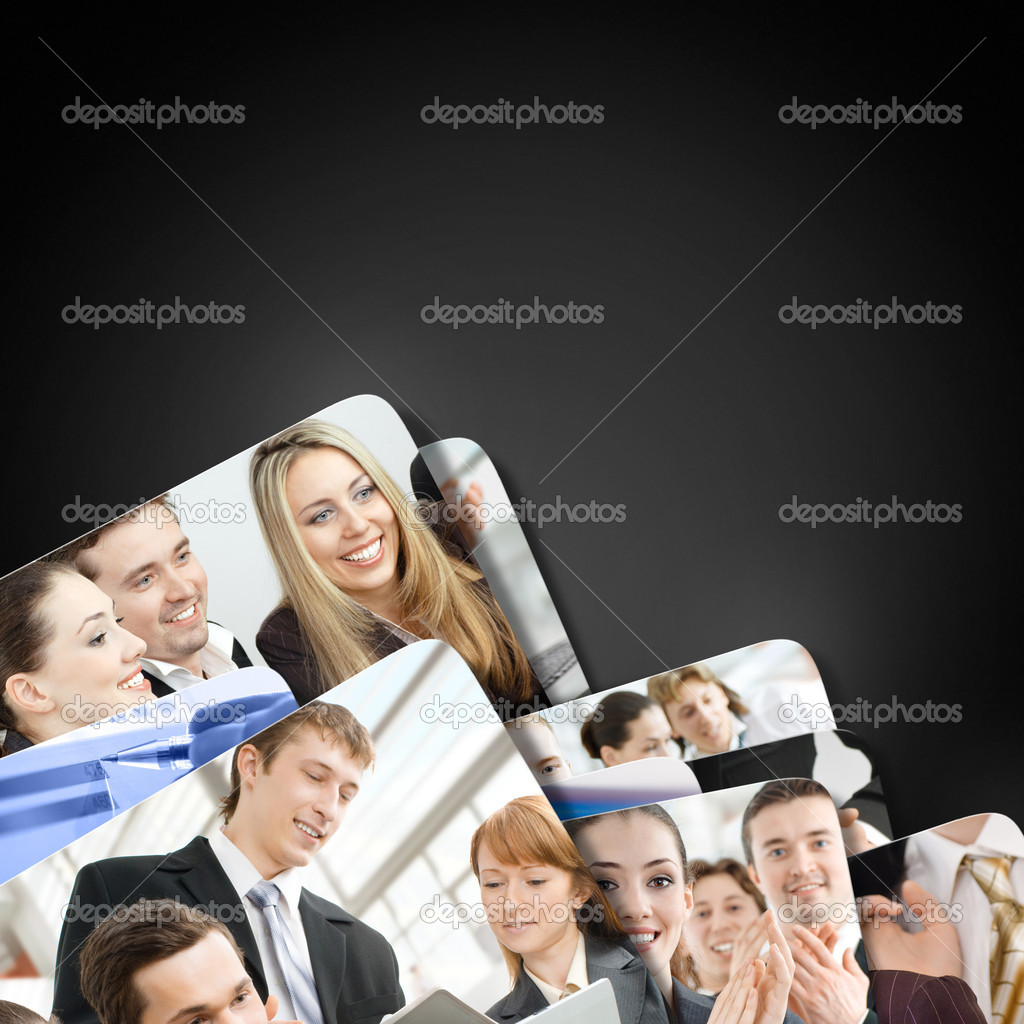 Team of successful smiling young business — Stock Photo #6171225