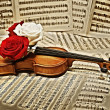Old violin with musical notes and roses — Stock Photo #5745015