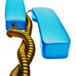 Two blue handsets with gold wire — Stock Photo