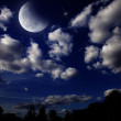 Night landscape with the moon — Stock Photo