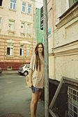 Young beautiful woman on the street — Stock Photo