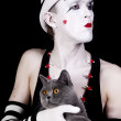 Mime with a gray British cat — Stock Photo #6381411