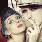 Men and women in retro style — Stock Photo