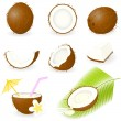 Stock Vector: Icon Set Coconut