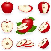 Rött äpple — Stockvektor
