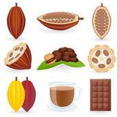 Sada ikon kakao — Stock vektor