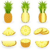 Set di icone ananas — Vettoriale Stock