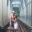 Couple on train tracks — Stock Photo #5442703