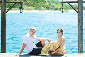 Couple on pier — Stock Photo