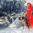 Woman and dog - Photo
