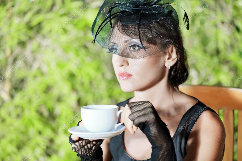 Fashion woman retro portrait in a restaurant — Stock Photo #6349529
