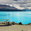 Lake Pukaki and Mount Cook, New Zealand - Stock Photo
