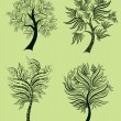 Vector set of spring tree design elements - Stock Vector