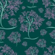 Vector seamless pattern from trees  — Stock vektor