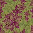 Vector Seamless floral pattern with lilly flower — Stock vektor
