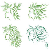 Vector set of girls hair from leafs — Stock Vector