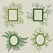 Set vettoriale delle foglie cornici — Vettoriale Stock