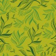 Seamless green floral pattern with leafs - Imagen vectorial