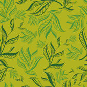 Seamless green floral pattern with leafs — Stock Vector