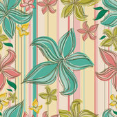 Vector Seamless floral pattern with orchid flower — Stock Vector