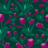 Seamless vintage floral pattern with tulips — Stock Vector