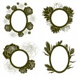 Vector set of vintage frames with flowers — Stock Vector