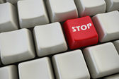 """Keyboard with """"stop"""" button 3d rendering — Stock Photo"""