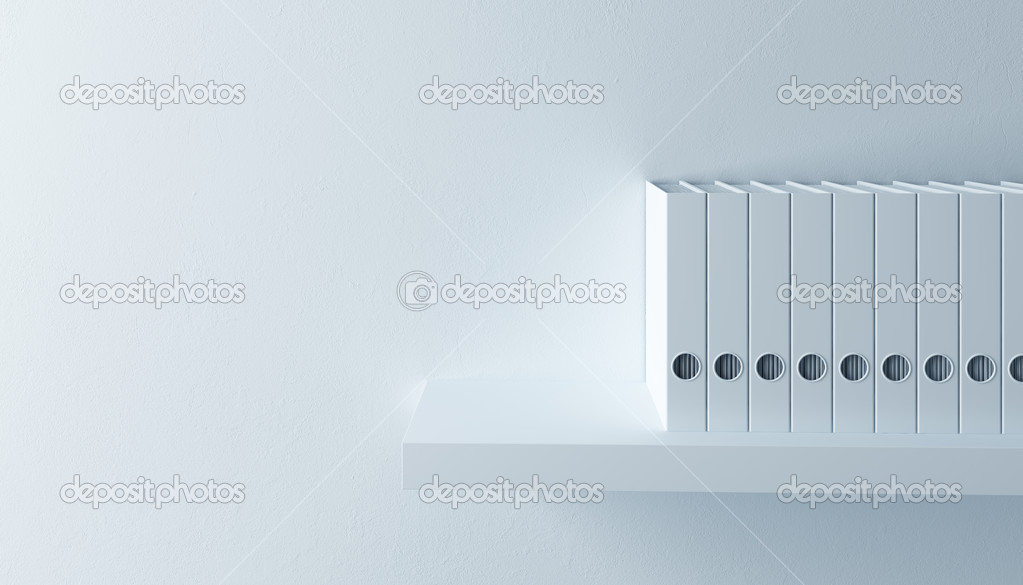 Row of folders on bookshelf, 3d render  Stock Photo #5690943