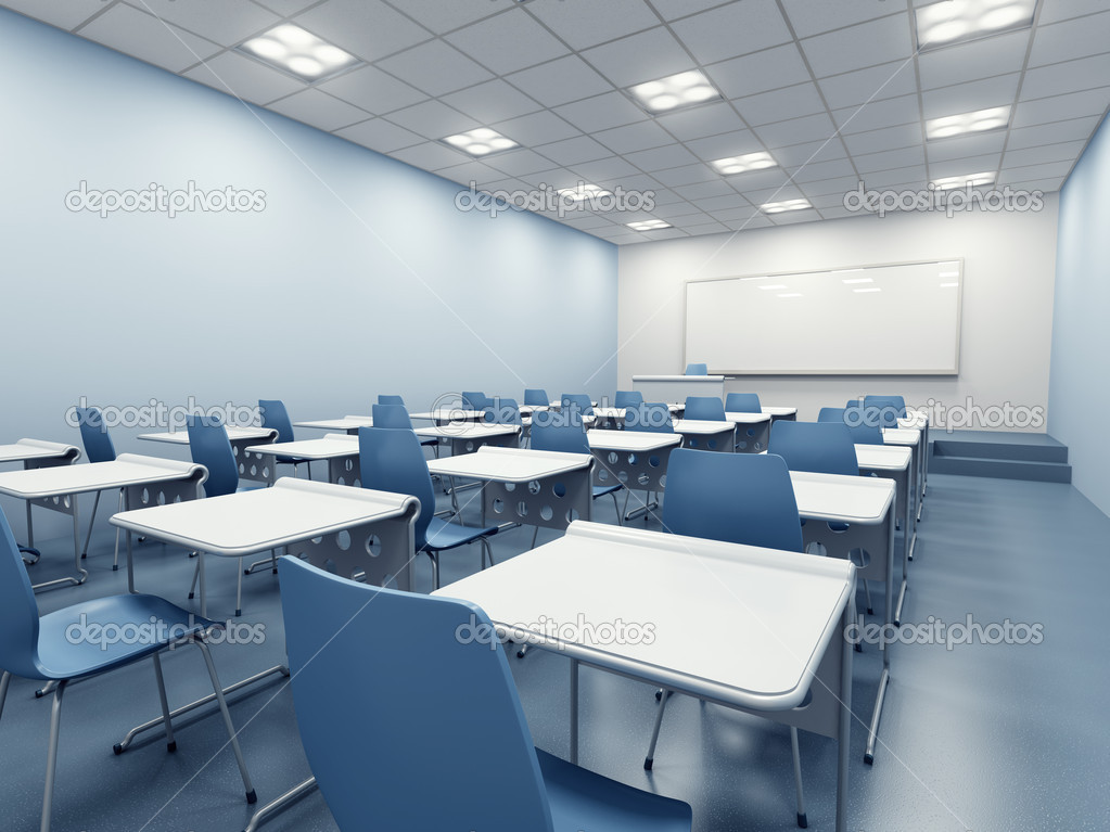 Modern blue classroom. 3d rendering — Stock Photo #6130882