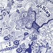 Psychedelic abstract hand-drawn doodles background — Stok Vektör