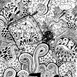 Psychedelic abstract hand-drawn doodles background — Imagens vectoriais em stock