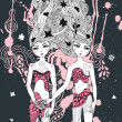 Gemini girls surreal illustration — Stockvectorbeeld