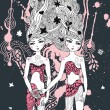 Gemini girls surreal illustration — Imagen vectorial