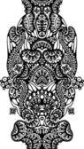 черный и белый симметричный узор — Cтоковый вектор
