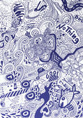 Psychedelic abstract hand-drawn doodles background — Stock vektor