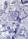 Psychodeliczny streszczenie rysowane ręcznie gryzmoły tło — Wektor stockowy