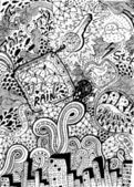 Psychedelic abstract hand-drawn doodles background — Stockvector
