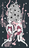 Gemini girls surreal illustration — Stockvector