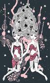 Gemini girls surreal illustration — Stock Vector