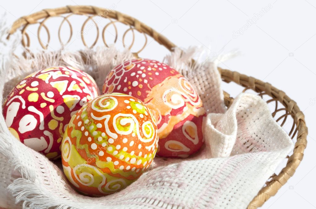 Basket full of Easter eggs hahd painting — Stock Photo #5973325