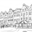 Old town - illustration sketch — Stock Photo