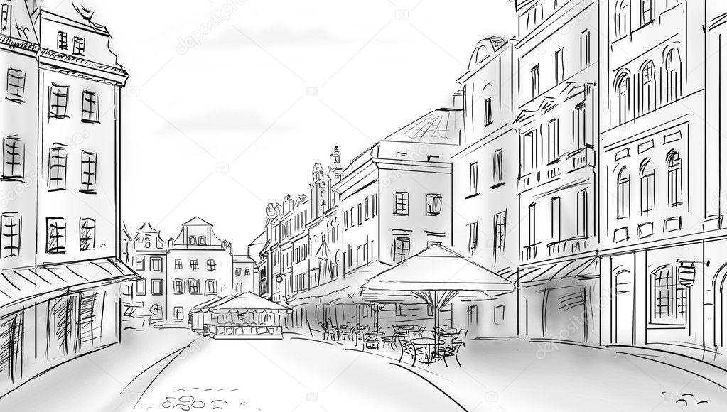 Old town - illustration sketch  — Stock Photo #6020999