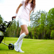Female golf player walking on fairway with their golf trolleys - Stock Photo