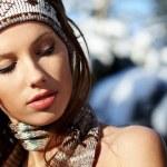 Winter portrait of a beautiful woman — Stock Photo