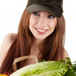 Healthy lifestyle - cheerful woman with fruit shopping paper bag — Stock Photo #6421155
