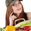 Healthy lifestyle - cheerful woman with fruit shopping paper bag — Stock Photo #6421169