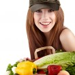 Healthy lifestyle - cheerful woman with fruit shopping paper bag — Stock Photo #6421416
